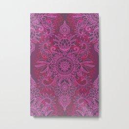 Magenta, Pink & Coral Protea Doodle Pattern Metal Print