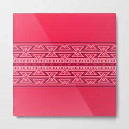 Native American Traditional Ethnic Tribal Geometric Navajo Motif Pattern Pink Metal Print