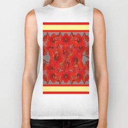 YELLOW COLOR RED AMARYLLIS FLOWER GARDEN  FLOWERS Biker Tank