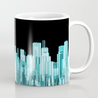 hologram Mugs featuring Hologram city panorama by GrandeDuc