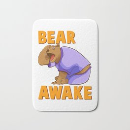 Bearly Awake Funny Barely Awake Sleepy Bear Pun Bath Mat