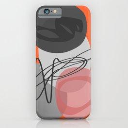 Minimal Orange Pink Black Abstract iPhone Case