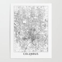 Columbus White Map Poster