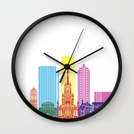 Medellin skyline pop Wall Clock