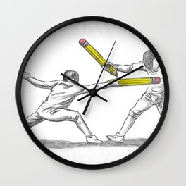 Parry Thrust Pencil Erase Wall Clock