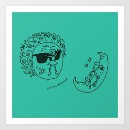 Sun & Moon, Aqua Art Print