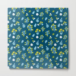 Flowers in dark blue and yellow color combination Metal Print
