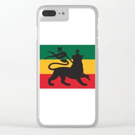 rastafarian flag with the lion of judah (reggae background) Clear iPhone Case