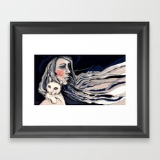 Girl and cat Framed Art Print