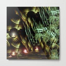 Floating Tealights Fractal Cave Metal Print