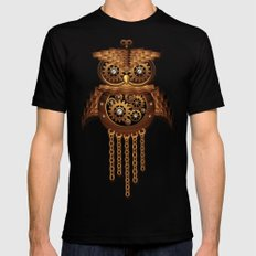 Steampunk Owl Vintage Style Black LARGE Mens Fitted Tee