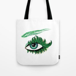 Spring eye with green leaves Tote Bag