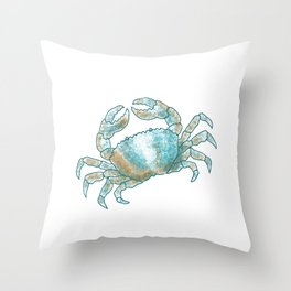 Aqua Colored Crab Throw Pillow