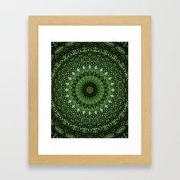 Mandala in olive green tones Framed Art Print