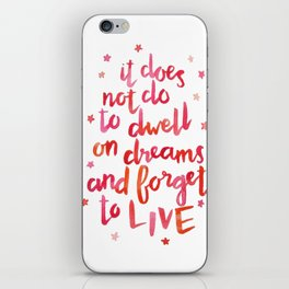 dumbledore live quote (coral) iPhone Skin