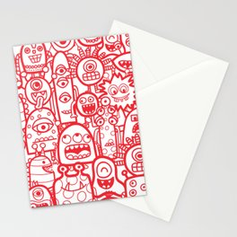 Cute Aliens and Monsters Red White Pattern Stationery Cards