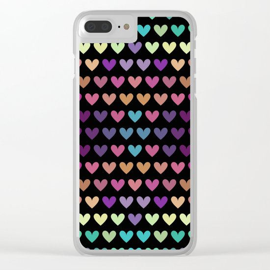 Colorful hearts IV Clear iPhone Case