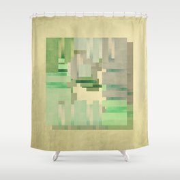 Green dreams of a little abstract forest Shower Curtain