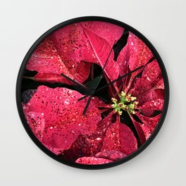 Red Poinsettias With Christmas and Hanukkah Holiday Sparkles Wall Clock