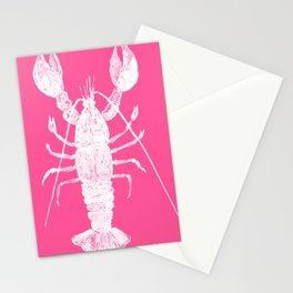 Pink lobster, Red Lobster  watercolor painting, sea animal art, kitchen art Stationery Cards