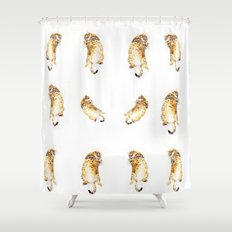 A Day in the Life of a Retired Kung fu Kitty Shower Curtain
