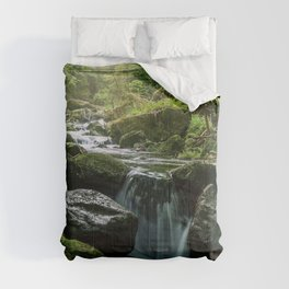 Flowing Creek, Green Mossy Rocks, Forest Nature Photography Comforters