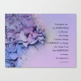 Serenity Prayer Hydrangeas Harmony Lavender Canvas Print