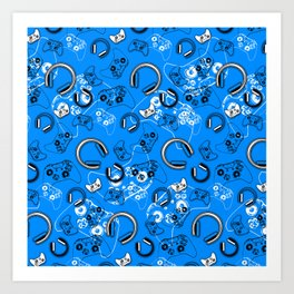 Gamers-Blue Art Print