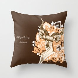 Hey! Beauty! - Greater Kudu - yellow Throw Pillow