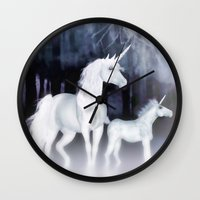 unicorns Wall Clocks featuring FANTASY - Unicorns by valzart