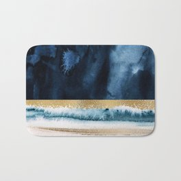 Navy Blue, Gold And White Abstract Watercolor Art Bath Mat