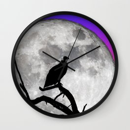 Vulture Silhouetted Against Supermoon Wall Clock