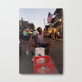 Bucket Boy on Bourbon Street, 2017 Metal Print