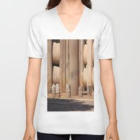 buddhism V-neck T-shirts featuring Buddhism ancient place in Sanchi by Four Hands Art