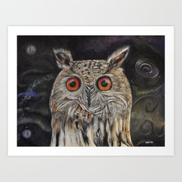 Owl who sees into other worlds Art Print