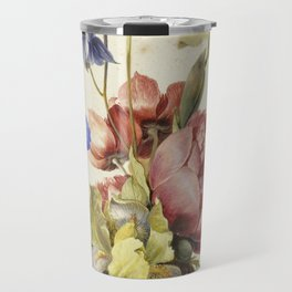 Dirck De Bray - Flowers In A Bottle Travel Mug