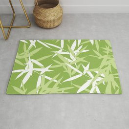 Green Bamboo Leaves Unique Pattern Rug
