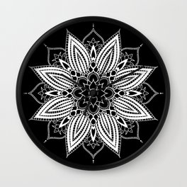 Black and White Flower Mandala Wall Clock