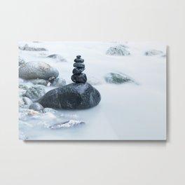 Black zen stone pile in soft milky water stream Metal Print