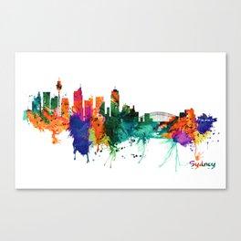 Sydney watercolor skyline Canvas Print