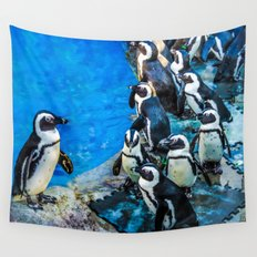 Penguin meeting Wall Tapestry