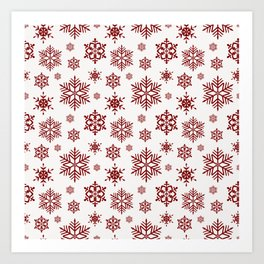 Large Dark Christmas Candy Apple Red Snowflakes on White Art Print
