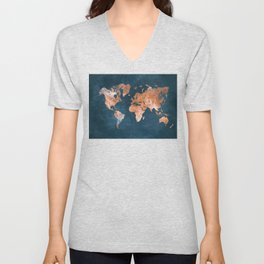 world map 15 Unisex V-Neck