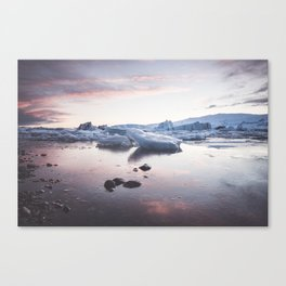 Sunset over Glacier Lagoon - Landscape and Nature Photography Canvas Print
