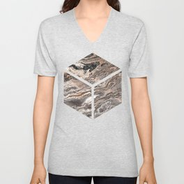 Brown Marble Texture Unisex V-Neck