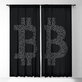 Bitcoin Binary Black Blackout Curtain