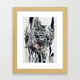 Cat in flowers Framed Art Print
