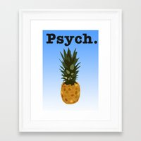 psych Framed Art Prints featuring Psych by Lauren Lee Design's