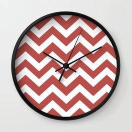 Deep chestnut - pink color - Zigzag Chevron Pattern Wall Clock