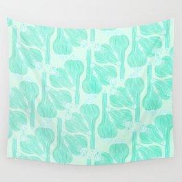 Garlics Pattern in Pastel Green Wall Tapestry